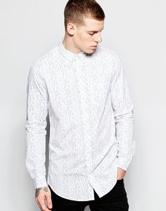 "Shirt by Pull&Bear Soft-touch cotton All-over-print Square collar Button placket Regular fit - true to size Machine wash 100% Cotton Our model wears a size Medium and is 188cm/6'2"" tall"