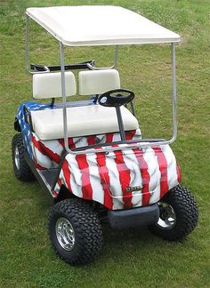 Custom Painted American Flag provided by Golf Car Discounters Inc Fort Lauderdale 33317 Fort Lauderdale, Golf Cart Bodies, A Lovely Journey, Golf Push Cart, Custom Golf Carts, Yamaha Golf Carts, Golf Trolley, Golf Drivers, I Love America