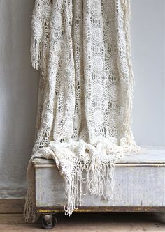 Vintage Crochet Bedspread / Coverlet Throw Bohemian by ethanollie