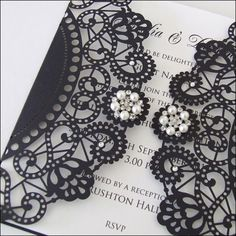 Lasercut wedding invitation with Crystals and Pearls by Wedding Paraphernalia, £4.25