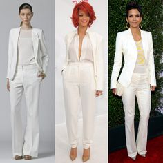 all white pants suit for women | ... through our shopping widget for Summer suiting options in cool white