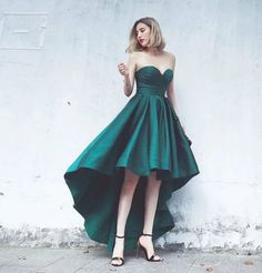 Fashionable High Low Prom Dresses 2017 Emerald Green