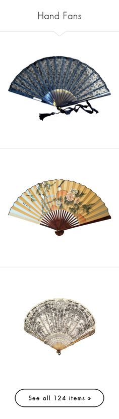 """""""Hand Fans"""" by firecat ❤ liked on Polyvore featuring accessories, fan, misc, home, home decor, decor, chinese wall fan, chinese home decor, bird home decor and wall home decor"""