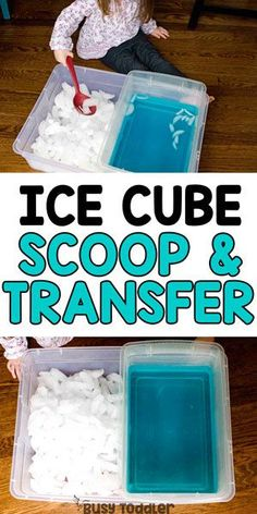 Ice Bin Transfer Sensory Activity - Busy Toddler Looking for a quick and easy activity? Check out this Ice Bin Transfer: a fun sensory and fine motor skills activity for toddlers and preschoolers. A fun indoor activity or a great outdoor summer activity. Sensory Activities Toddlers, Motor Skills Activities, Infant Activities, Winter Activities For Toddlers, Indoor Toddler Activities, 2 Year Old Activities, Kindergarten Sensory, Toddler Sensory Bins, Montessori Math