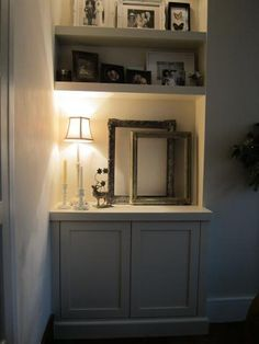 Alcove units Twickenham Fill awkward placed alcove w shelves or large framed print with gallery lighting Alcove Ideas Living Room, Living Room Shelves, New Living Room, Interior Design Living Room, Living Room Designs, Living Room Decor, Alcove Cupboards, Built In Cupboards, Cupboard Doors