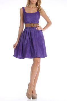 Nine West Top Stitch Pleated Dress in Purple