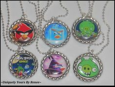 Angry birds space set of 6 necklaces party favors fun cool Space bird | UniquelyYoursByRenee - Jewelry on ArtFire