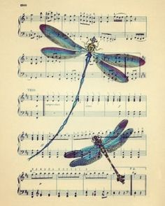 Dancing to the music DRAGONFLY ART on antique music page DRAGONFLY art dictionary book page art print antique dragonflies Book Page Art, Book Pages, Book Art, Sheet Music Crafts, Sheet Music Art, Dragonfly Art, Dragonfly Tattoo, Dragonfly Quotes, Butterfly Art