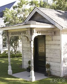 A shed salvaged from a Victorian house in Iowa........love this porch!!!
