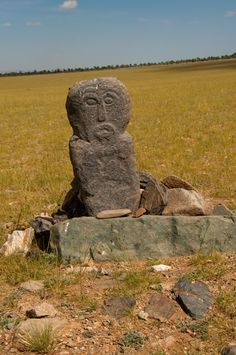 A bronze age sculpture in the Mongolian Gobi desert, a landscape rich in human history ..www.stonehorsemongolia.com