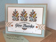 Stampin Up! Lighthearted Leaves and Suite Seasons stamp sets. Crumb cake and Whisper White card stock. Sweater Weather DSP