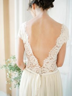 Lace bodice low back wedding gown