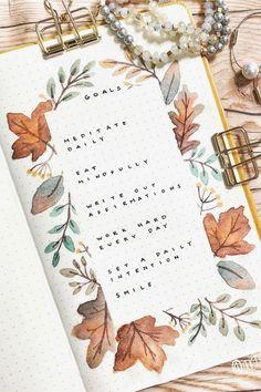 Bullet Journal Book List, Bullet Journal Leaves, Autumn Bullet Journal, Bullet Journal Spread, Bullet Journal Layout, Bullet Journal Inspiration, Theme Nature, Planner, Autumn Theme