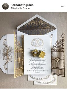 Luxury wedding invitations that features a custom monogram and lasercut gatefold pocket! The regal essence of the Damascus pattern on the envelope and letterpress printing is insane.