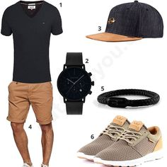 Men's style with black Tommy Hilfiger shirt, cool Djinns cap, Gigandet watch, Fischer's Fritze bracelet, Indicode shorts and Supra shoes. Casual Wear, Casual Dresses, Casual Outfits, Men Casual, Casual Clothes, Fashion Mode, Mens Fashion, Fashion Fashion, Men's Fashion Styles
