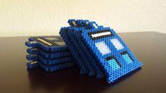 Tardis Coaster Set - Doctor Who perler beads by Yarnfish