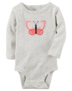 Baby Girl Long-Sleeve Butterfly Bodysuit from Carters.com. Shop clothing & accessories from a trusted name in kids, toddlers, and baby clothes.