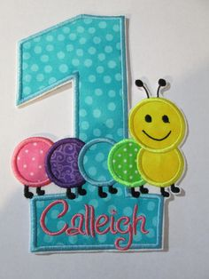 Iron On Applique -  Birthday Number with Caterpillar