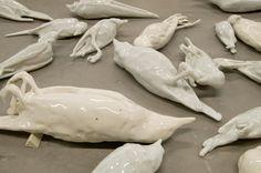 Kiki Smith, porcelain bird casts.
