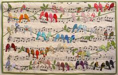 """""""Birds"""" by Cecilia Koppmann, from the special exhibit """"Hands All Around 2015"""". Houston International Quilt Festival."""