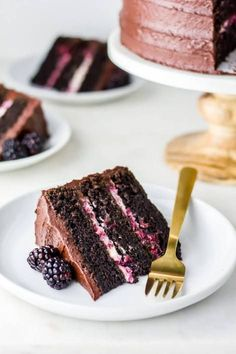Blackberry Chocolate Cake: three layers of dark chocolate cake, blackberry mascarpone cream and a fudgy blackberry chocolate buttercream. Just Desserts, Delicious Desserts, Yummy Food, Baking Recipes, Cake Recipes, Dessert Recipes, Food Cakes, Cupcake Cakes, Gourmet Cakes