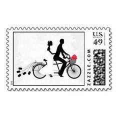 Tandem Bicycle with Bride and Groom Wedding Postag Stamp