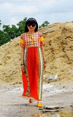 Купить Платье БОХО летнее (№155) - комбинированный, платье макси, платье бохо…