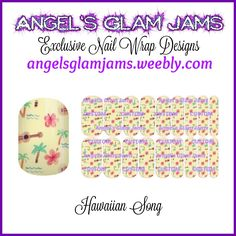 Hawaiian Song Jamberry Nail Wraps by Angel's Glam Jams  ORDER HERE: http://angelsglamjams.weebly.com/hawaiian-song.html  #hawaii #hibiscus #yellow #jamberry #nas #nailwraps #nailartstudio #nailwrapdesign
