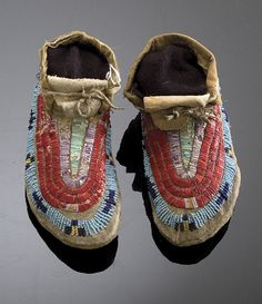 Sioux Child's Beaded and Quilled Moccasins, - Cowan's Auctions