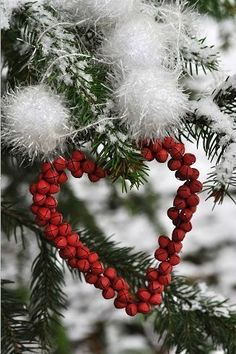 Christmas and nature love, from these lovebirds! A cranberry heart ornament, for their edible, Christmas tree, made for their wildlife! Merry Christmas, Christmas Love, Country Christmas, Christmas And New Year, All Things Christmas, Winter Christmas, Xmas, Nordic Christmas, Magical Christmas