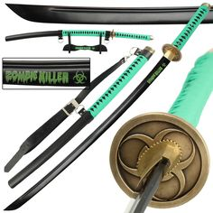 When the Zombie Apocalypse hits, you will be ready for battle with this battle ready full tang Zombie Killer Katana! Featuring a beautiful black finish and constructed from heat tempered 1045 high carbon steel, the strong and thick blade is balanced by the bohi (fuller) running along its entire length. #zombiekillerhighcarbonsteelfulltangkatanasword