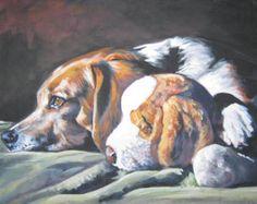 Beagle dog art CANVAS print of LA Shepard painting 8x8