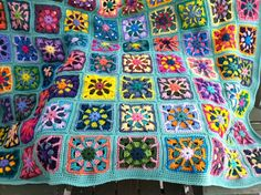 Pretty kaleidoscope granny square afghan: http://www.etsy.com/listing/92755123/crocheted-afghan-kaleidoscope-granny