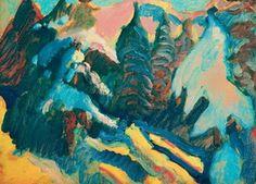 Wassily Kandinsky.  Kochel, árboles Nevado, 1909