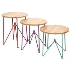 Alice 3 Piece End Table Set in Natural