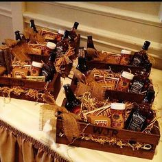 """Groomsmen baskets - Although you aren't having a wedding party this is a cute gift idea for guys if you needed something as a """"thank you"""""""