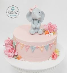 Elephant Birthday, Green Flowers, Cream White, Baby Shower Cakes, Cocktails, Coral, Birthday Parties, Party, Desserts