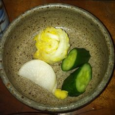 """Japanese Pickles """"Tsukemobo"""" Tsukemono is Vegetables preserved in salt This style is Japanese style. Tsukemono It eats with ginger and """"Sho-yu"""" Sho-yu is soy sauce."""