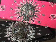 Bandana, motorcycle sugar skull bandana.  American made bandana with metal centerpiece and Swarovski crystals