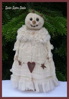 Sweet Primitive Snow Girl Doll Wonderful by SpiderSistersStudio