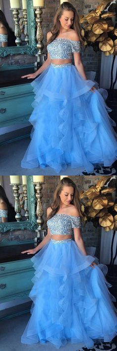 long prom dresses - Charming Two Piece Party Dress, Blue Long Prom Dress, Off Shoulder Prom Dress 51616 Sweet 16 Dresses, Sweet Dress, Pretty Dresses, Beautiful Dresses, Sparkly Prom Dresses, Tulle Prom Dress, Homecoming Dresses, Strapless Prom Dresses, Prom Dresses Two Piece