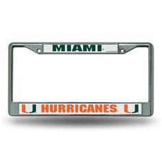 Rico University of Miami Chrome License Plate Frame (Silver, Size ) - NCAA Licensed Product, NCAA Novelty at Academy Sports