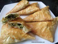 Spinach and cheese filled filo pastry triangles; Muska Boregi | Ozlem's Turkish Table