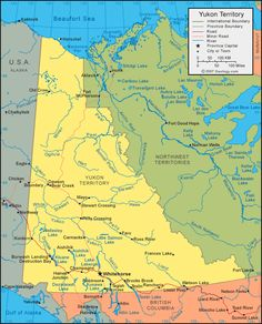 Yukon Territory map Geography Of Canada, Yukon River, Cruise Scrapbook, Yukon Territory, North America Map, Northwest Territories, Visit Canada, Capital City, Pacific Northwest