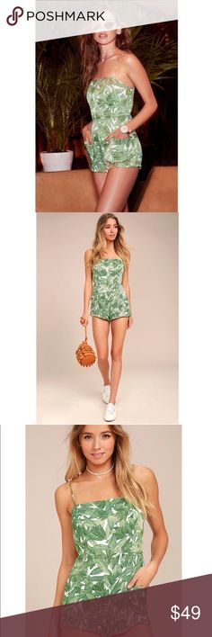 Obey Romper Nothing says festival fun quite like the Obey Tropique Green Print Romper! Silky-soft woven fabric, with a trendy tropical print, shapes a square neckline, and skinny straps that tie above an open back. Darted bodice and high-waisted shorts, with side patch pockets. Small front logo tag. Hidden back zipper/clasp. Obey Pants Jumpsuits & Rompers