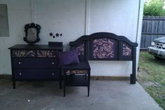 Bedroom Set  Purple, Black and Gold