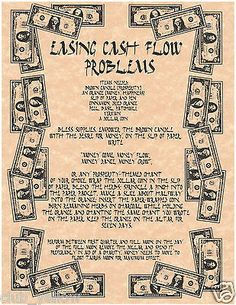 EASING CASH FLOW PROBLEMS Real Witchcraft Spell Book of Shadows Page BOS Pages