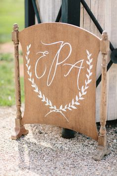 elegant #monogram #sign Photography by andreahubbell.com/  Read more - http://www.stylemepretty.com/2013/08/22/pippin-hill-farm-wedding-from-andrea-hubbell-photography/