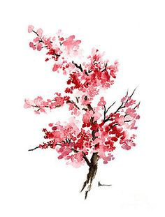 Cherry blossom branch watercolor art print by Joanna Szmerdt