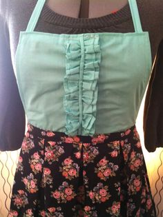 Aqua Ruffles and Black Floral Apron by SimplyTanya on Etsy